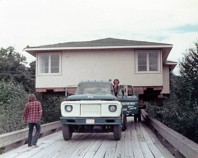 Belton Bros moving a house across a bridge Vancouver island