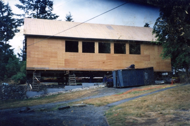 Raising a structure at Shawnigan school BC