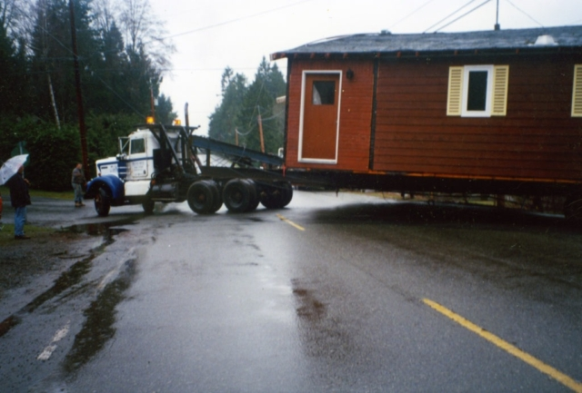 Belton Bros moving a house in the rain Vancouver Island
